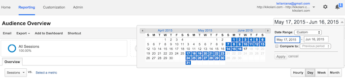 google analytics date range select