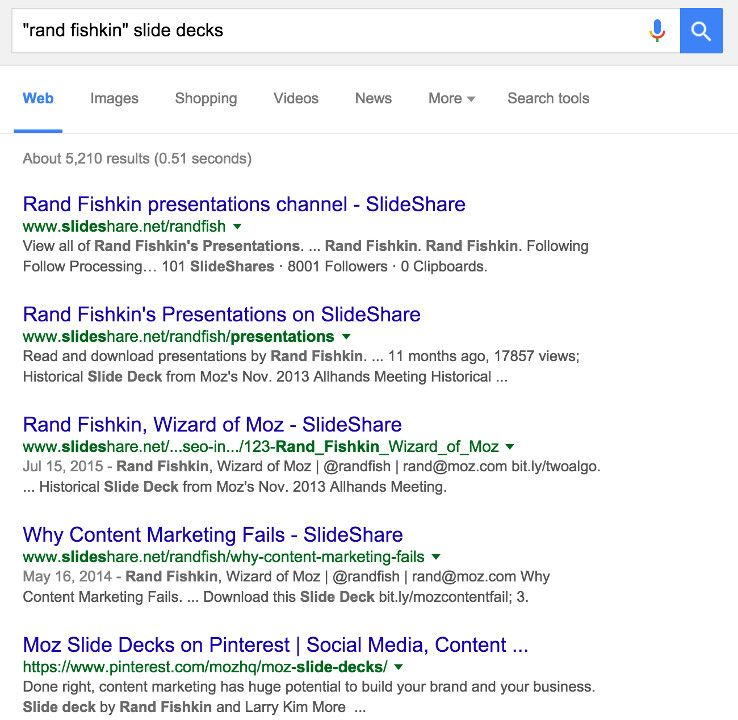Rand Fishkin and slide deck results on Google
