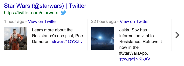 Star Wars tweet stream in Google results