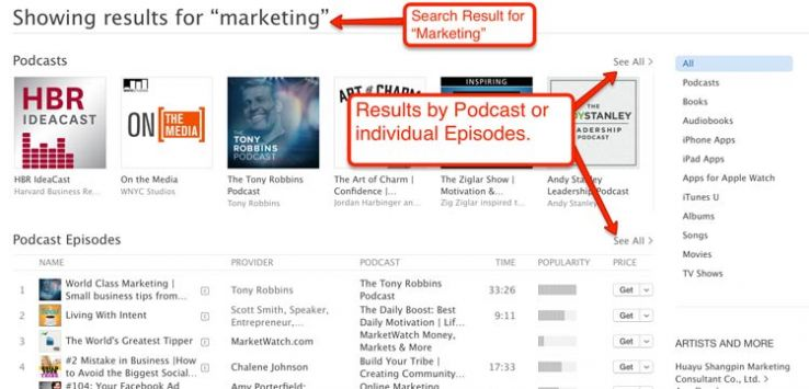 """iTunes search results for """"marketing."""""""