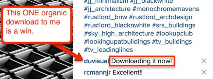 Organic download comment on Instagram.