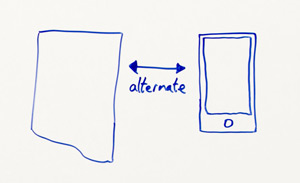 Close-up of whiteboard: a normal desktop page on the left with a two-sided arrow with