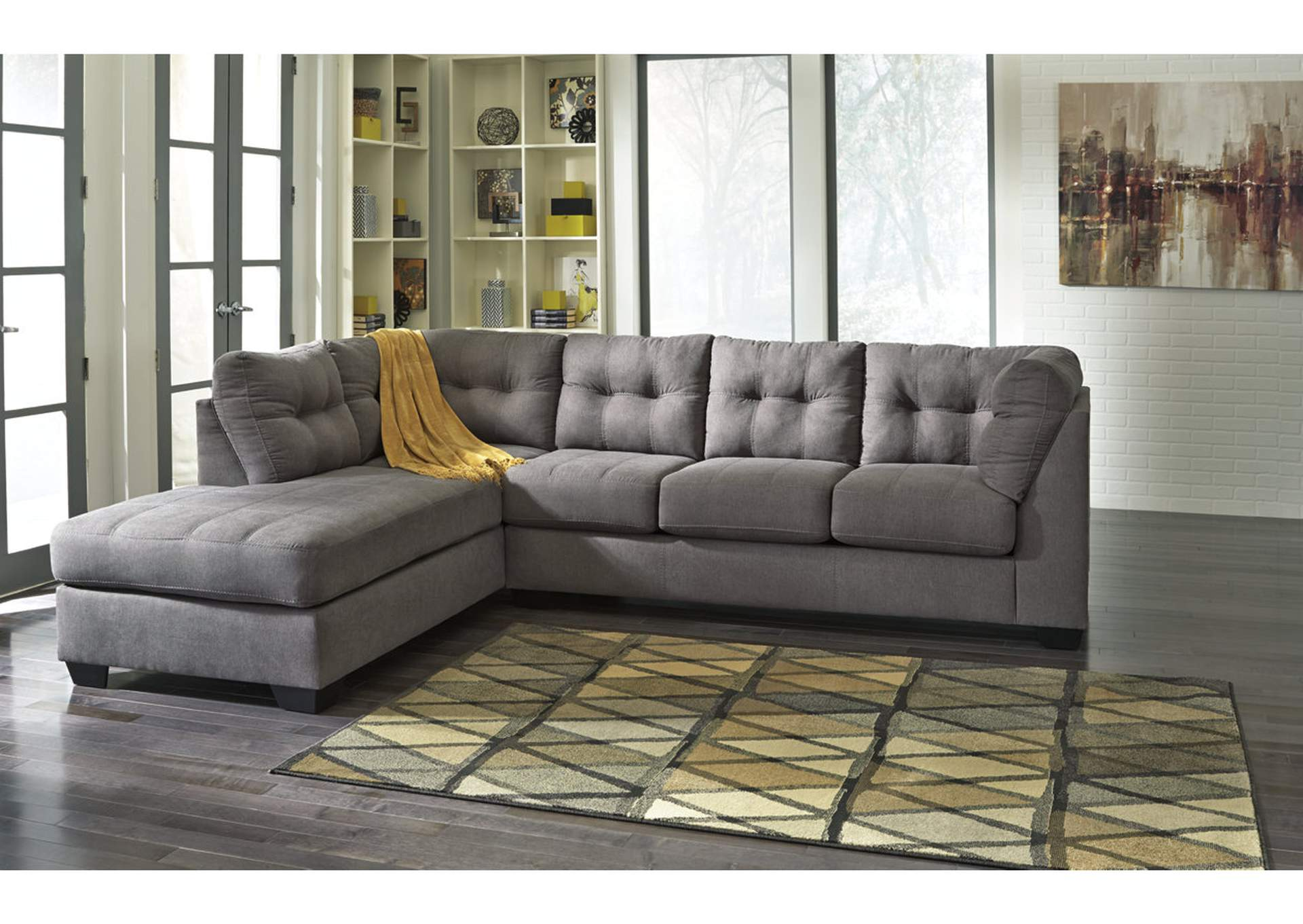 maier charcoal left arm facing chaise end sectional