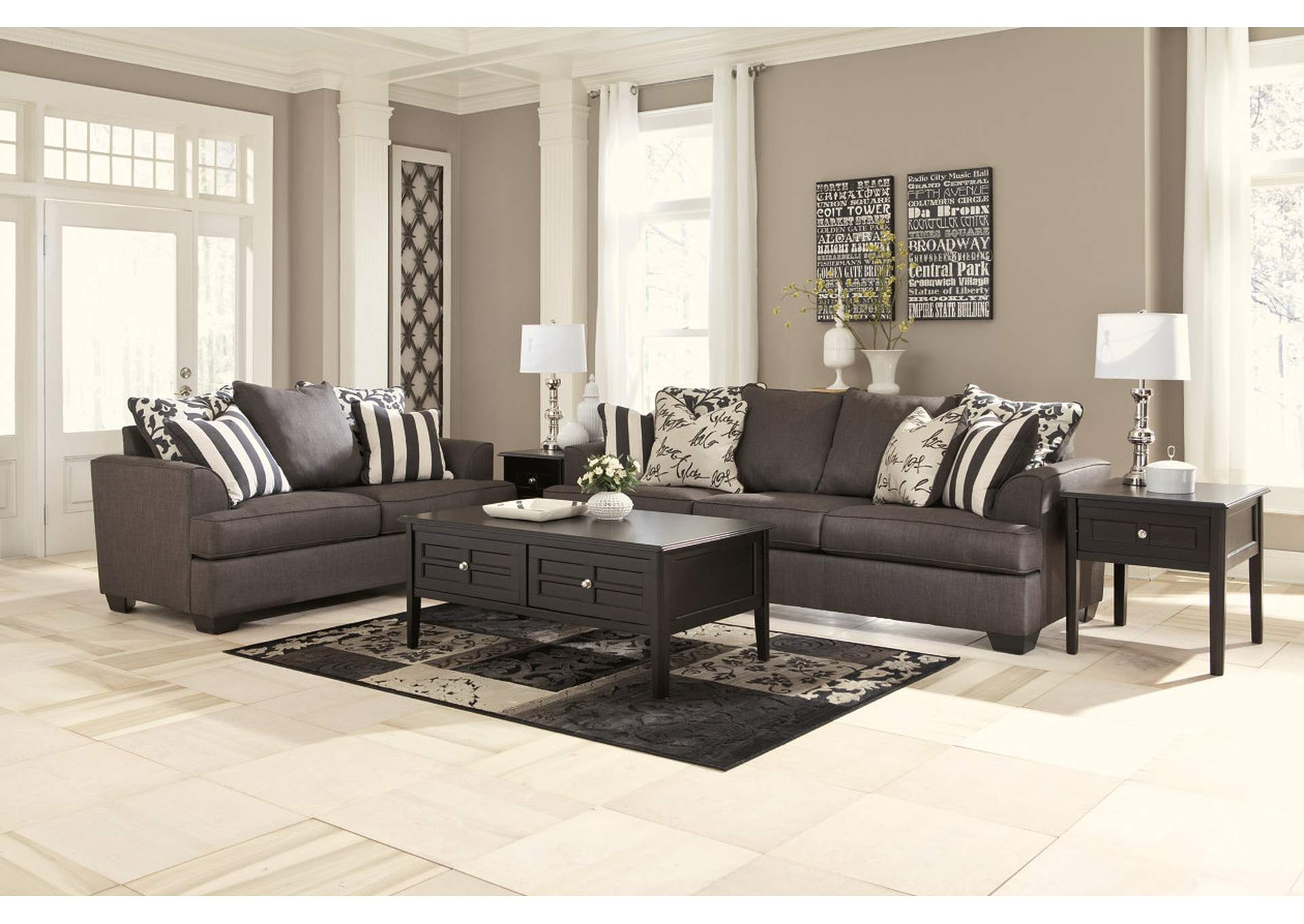 levon charcoal sofa loveseat signature design by ashley