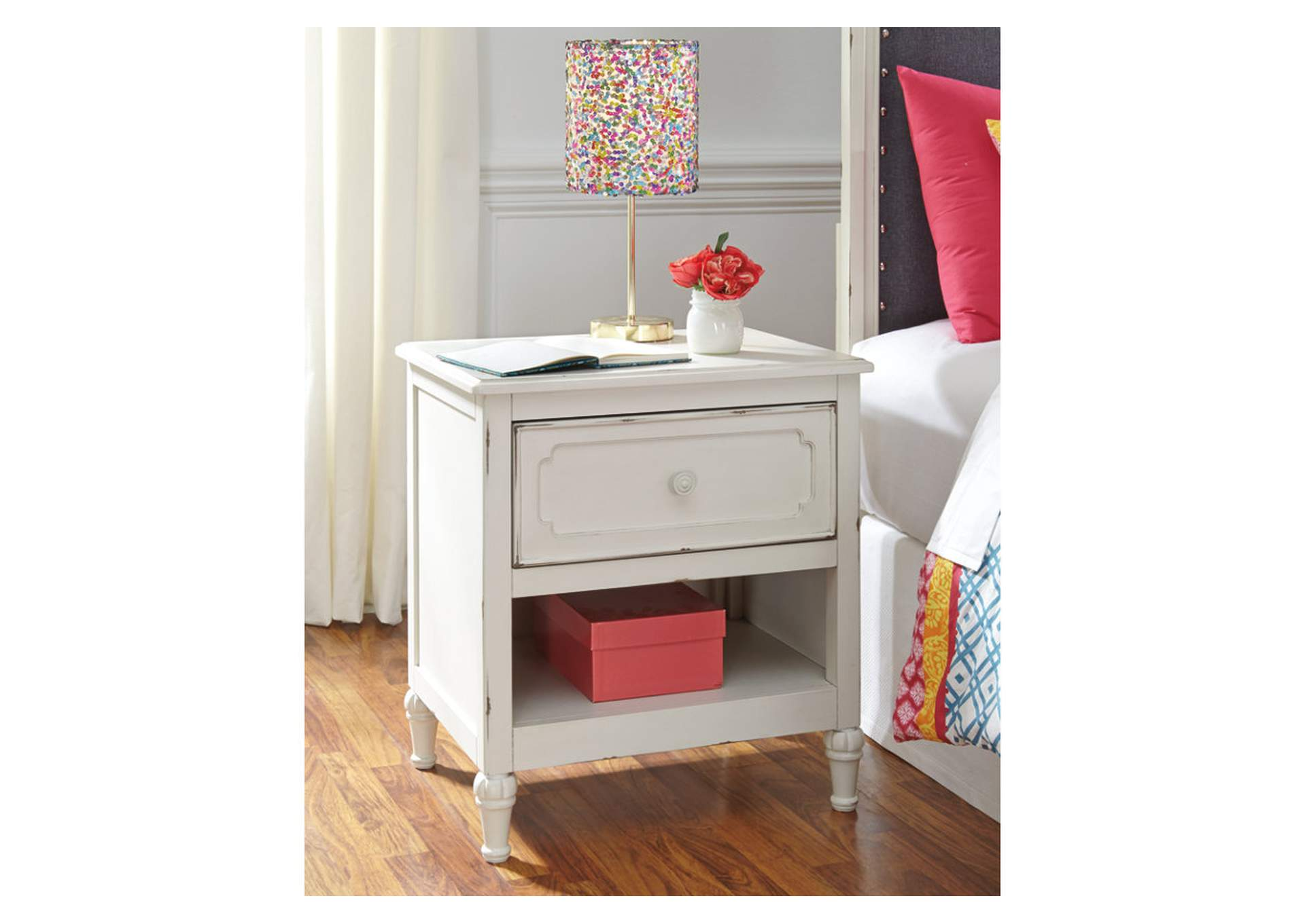Furniture Exchange Faelene Chipped White One Drawer Night Stand