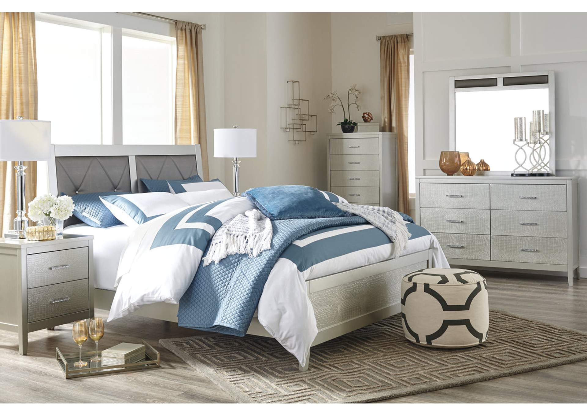 Find Beautiful Brand Name Home Furnishings in Boston  MA Olivet Silver Queen Upholstered Panel Bed w Dresser  Mirror   Nightstand