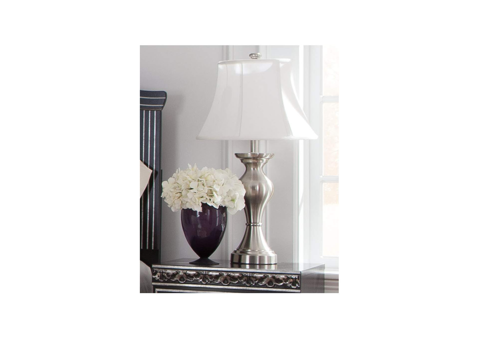 Living Room Center Rishona Brushed Silver Table Lamp Set Of 2