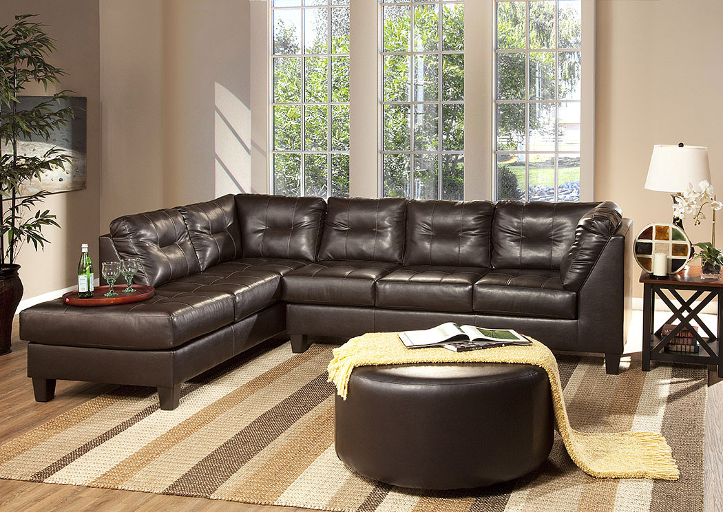 ROSES Flooring And Furniture San Marino Chocolate Sectional