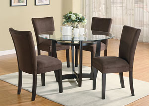 Dining Room Affordable Furniture   Carpet   Chicago  IL Round Glass Top Table w 4 Chocolate   Cappuccino Parson Chairs