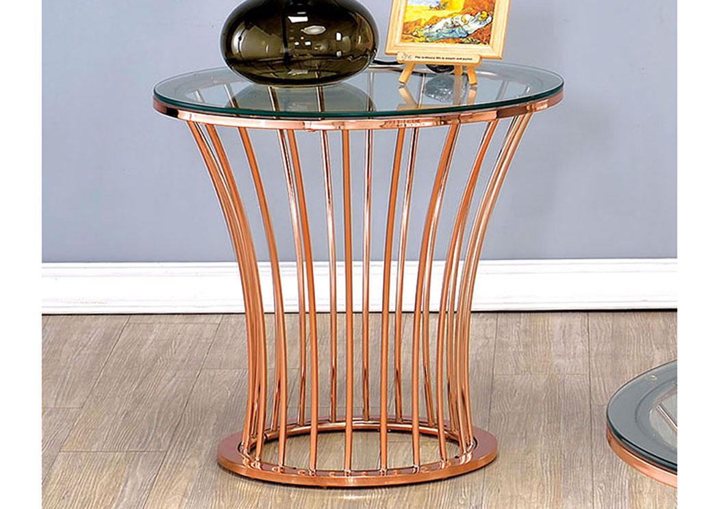 Quality Furniture WA Celise Rose Gold Round End Table W