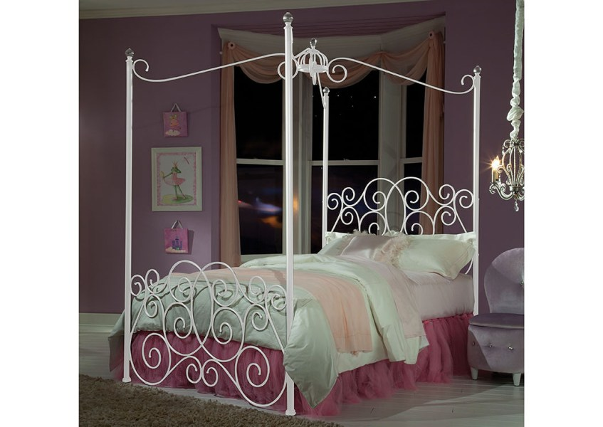 Renaissance   Philadelphia  PA Princess White Twin Metal Canopy Bed Princess White Twin Metal Canopy Bed Standard