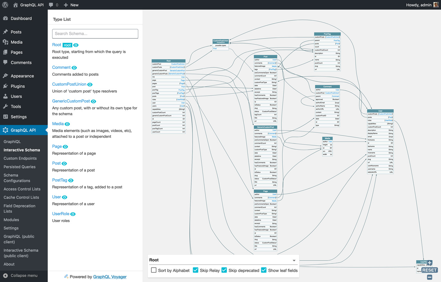 GraphQL Voyager enables us to interact with the schema, as to get a good grasp of how all entities in the application's data model relate to each other.