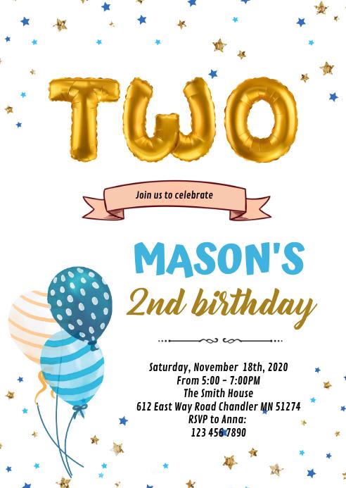 2nd birthday card invitation template