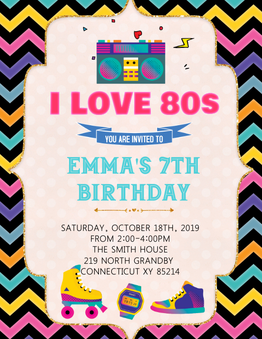 80 s party birthday invitation template