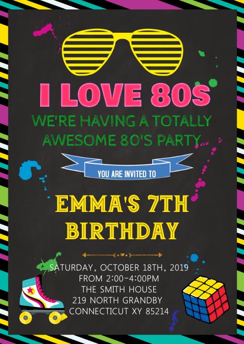 80s birthday theme invitation template