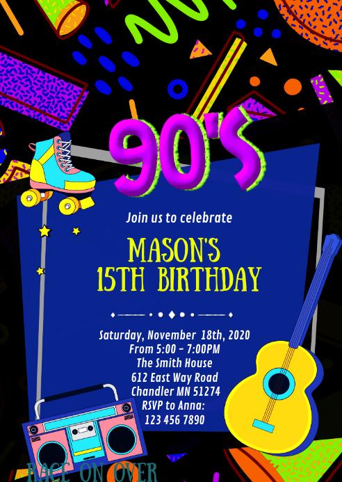 90 s birthday party invitation template