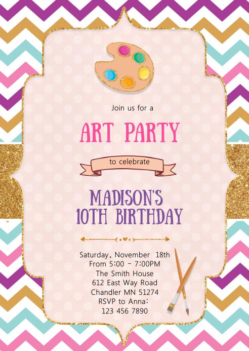art craft birthday invitation template