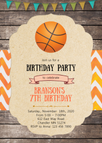 11 430 basketball birthday invitation