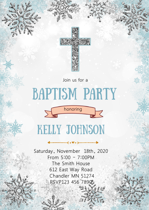 boy baptism snowflake party invitation