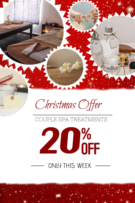 Christmas Sale Retail Promotional Poster Template Spa