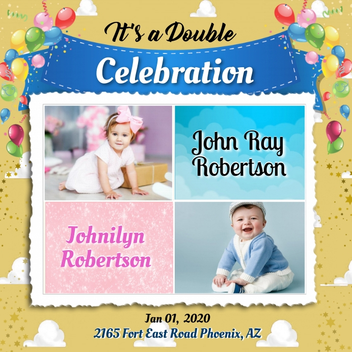 double celebration template postermywall