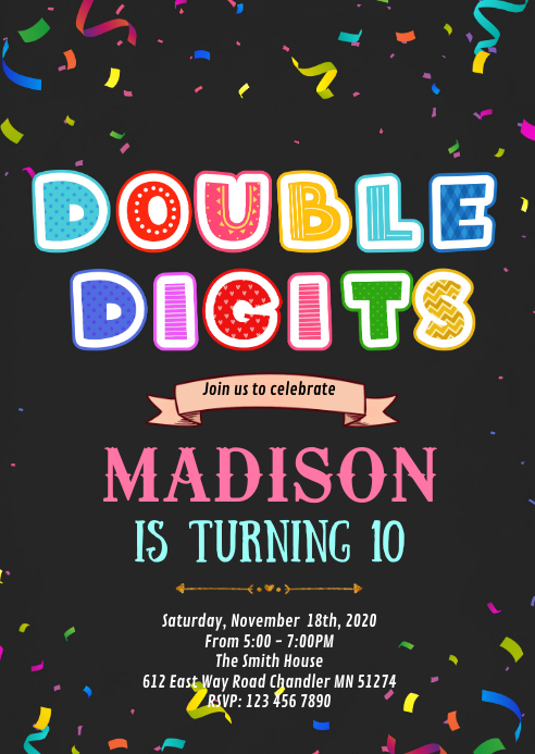 double digits 10th birthday invitation