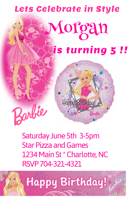 barbie birthday invitation template