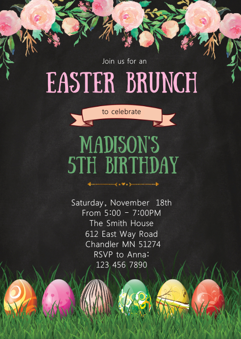 easter brunch birthday party invitation