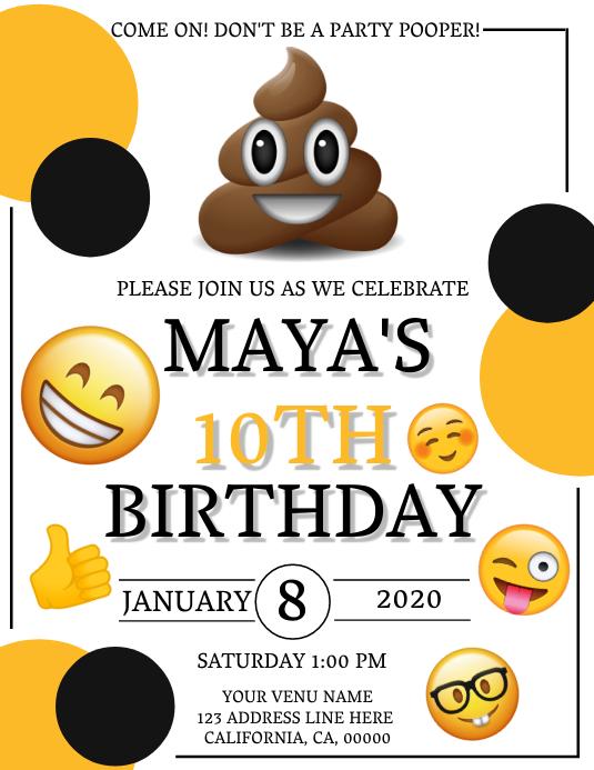 emoji birthday invitation template
