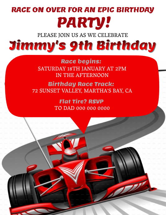 ferrari race car birthday invitation