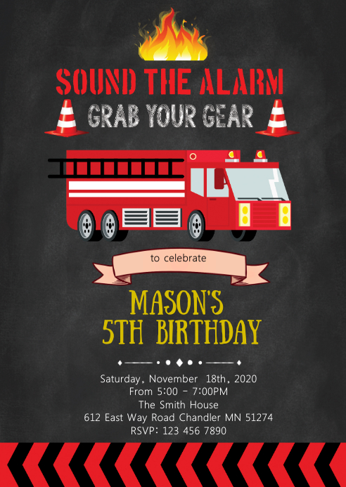 Available 24 hours a day 7 days a week. Firefighter Birthday Party Invitation Template Postermywall