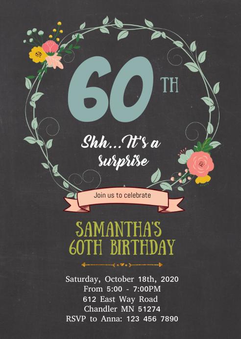 floral 60th birthday invitation