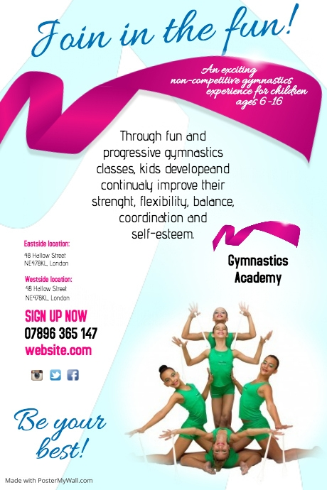 Gymnastic Academy Flyer Template PosterMyWall