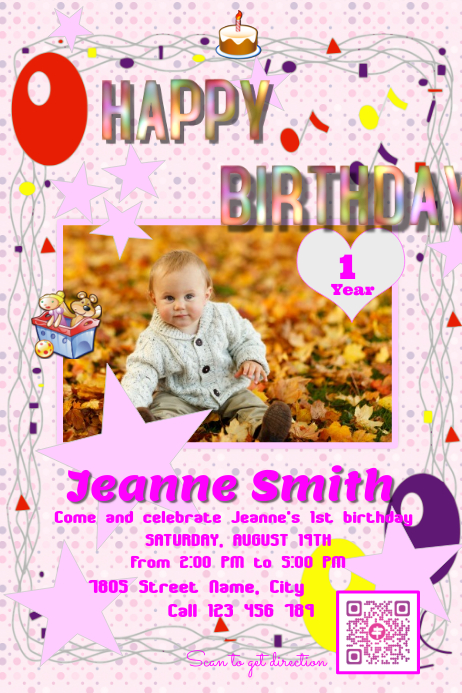 copy of happy birthday invitation card