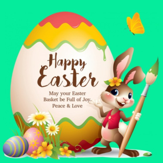Happy Easter Greeting Card Wishes Egg Bunny Flowers Spring Template   PosterMyWall