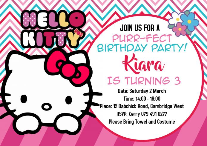 hallo kitty einladungen broschure