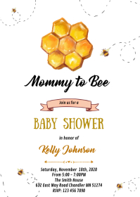 bee birthday invitation customizable