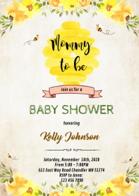 bee birthday invitation customizable