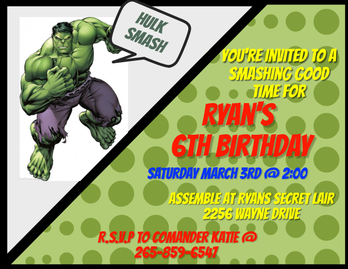 hulk invitation template postermywall