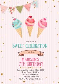 11 400 ice cream birthday invitation