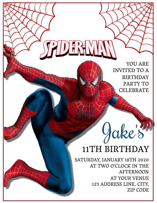 kids spiderman birthday invitation