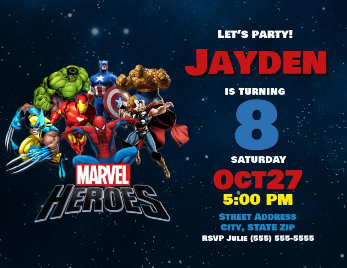 marvel heroes birthday invitation