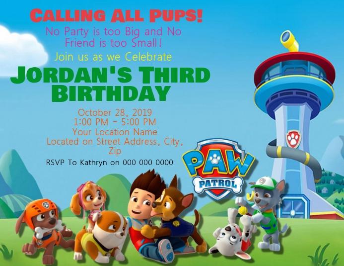 paw patrol kids birthday invitation