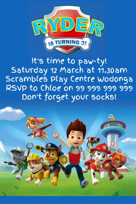 paw patrol party invitation template