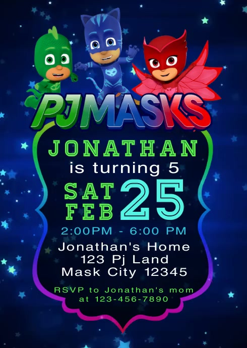 pj masks party video birthday invitation 5