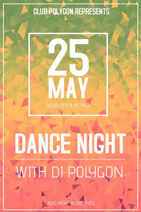 Polygon Club Poster Template Landscape Dance Night