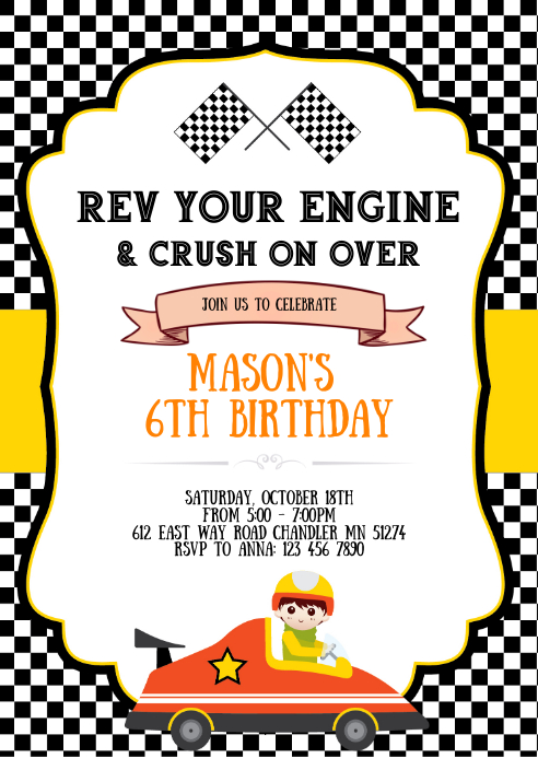 race car birthday party invitation