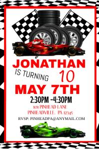 racing birthday invitation party