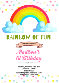 And don't forget to add plenty of rainbow sprinkles. 15 470 Rainbow Birthday Invitation Customizable Design Templates Postermywall