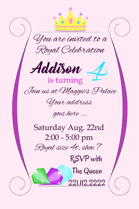 royal birthday girl party invite
